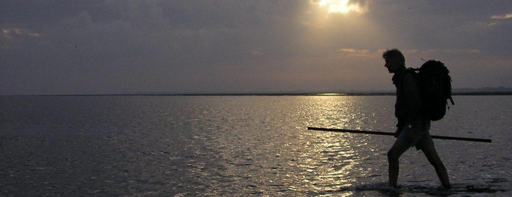 Man aan het wadlopen met een ondergaande zon.
